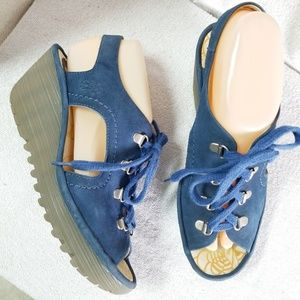 Fly London blue suede leather wedge Ylfa sandals